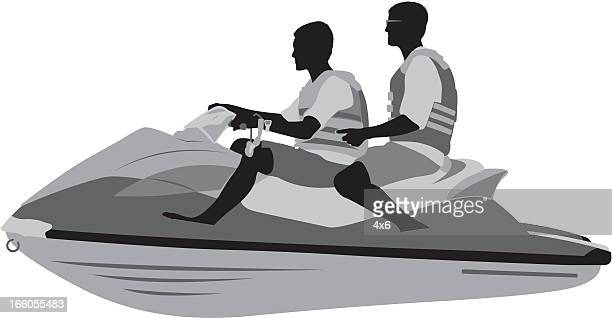 two males on a jet ski - motorboating stock illustrations, clip art, cartoons, & icons