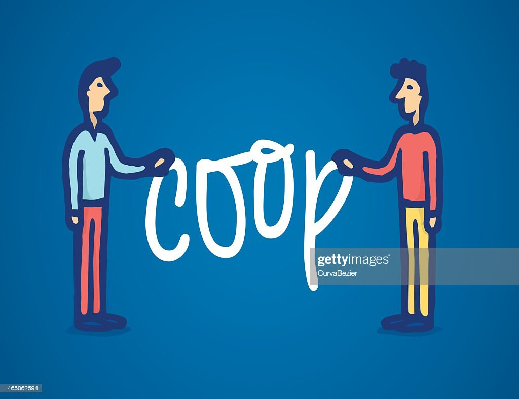 Two man holding coop word