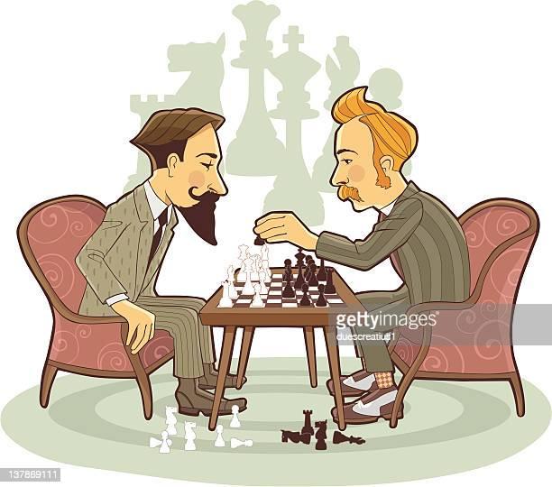 ilustraciones, imágenes clip art, dibujos animados e iconos de stock de dos hombre jugando al ajedrez - torre pieza de ajedrez