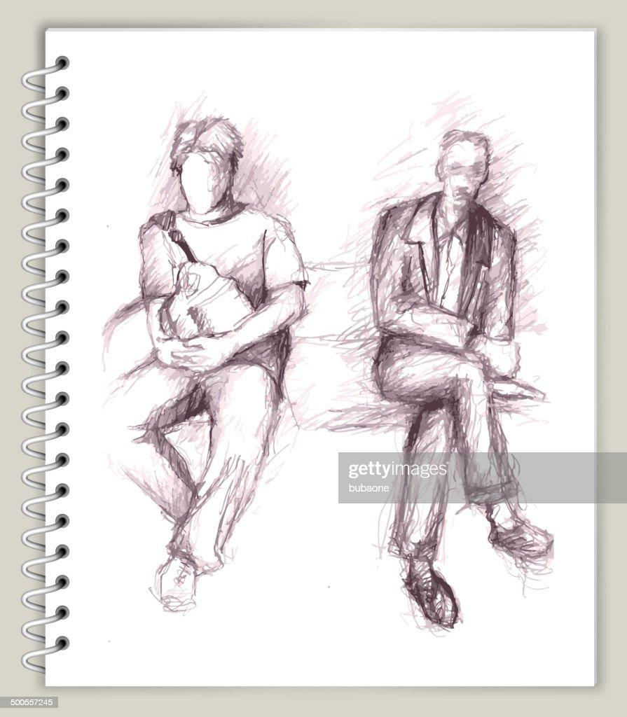 Two Man Sitting Drawing on Art Sketcbook royalty-free vector art