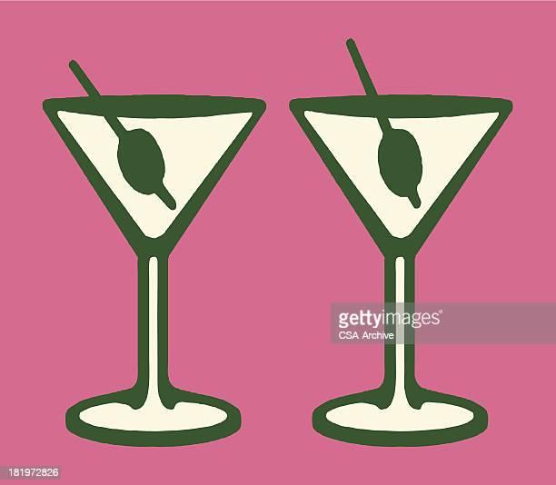 two martinis - martini stock illustrations