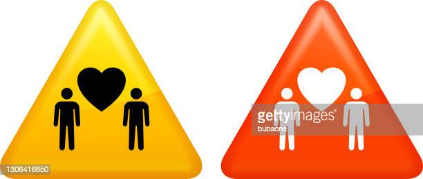 二人の男とハートの愛のアイコン - 結婚の平等点のイラスト素材/クリップアート素材/マンガ素材/アイコン素材