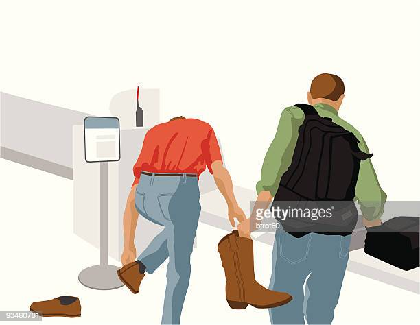 Two Men at Airport Security X-ray