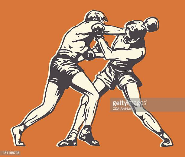 two men boxing - retro style stock illustrations