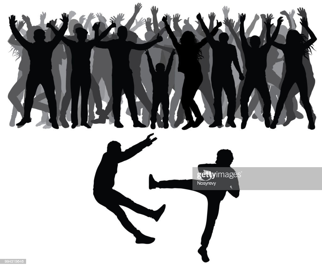 Two men fight against on the background of cheering crowd of people. Vector