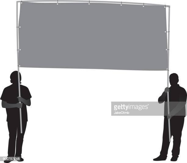 two men holding banner silhouette - protestor stock illustrations, clip art, cartoons, & icons