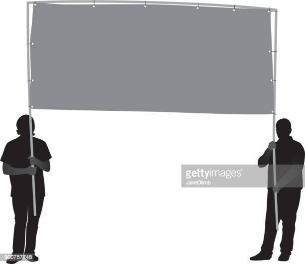 two men holding banner silhouette - protestor stock illustrations
