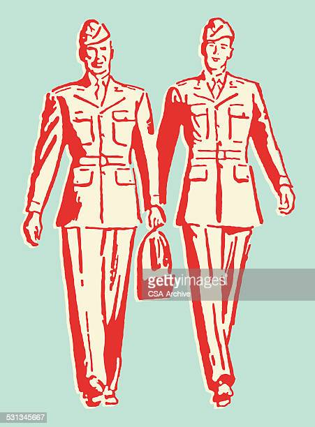Two Men in the Army Walking Together