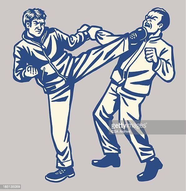 two men kickboxing - combat sport stock illustrations