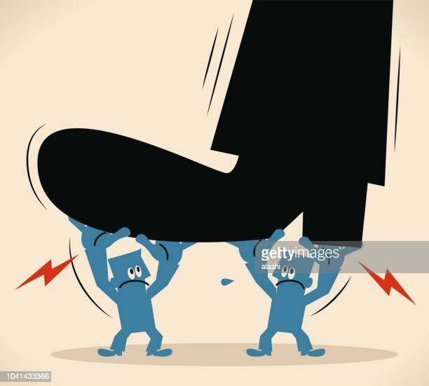 two men lifting a huge foot - unfairness stock illustrations