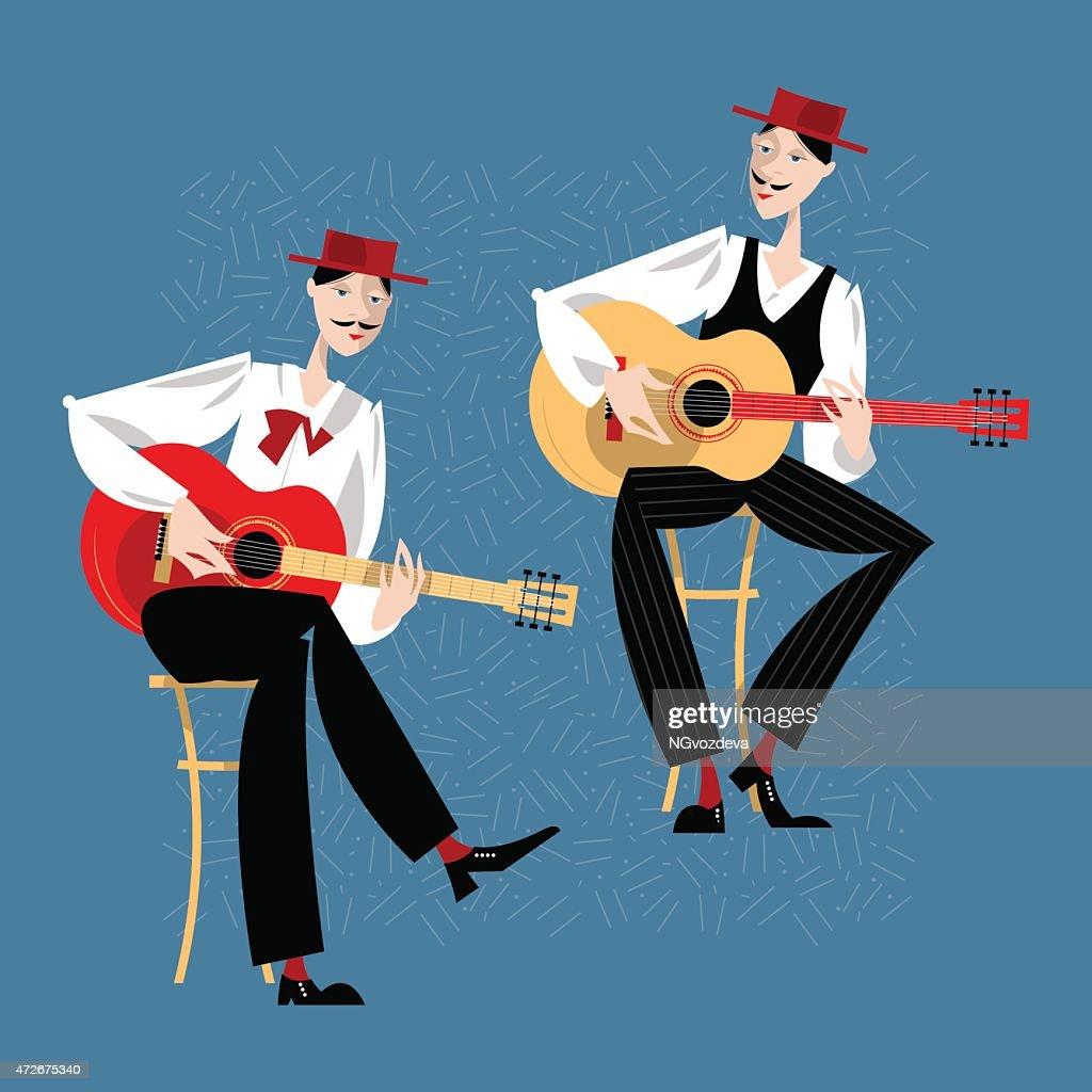 Two men playing a guitar. Spanish flamenco guitarists.