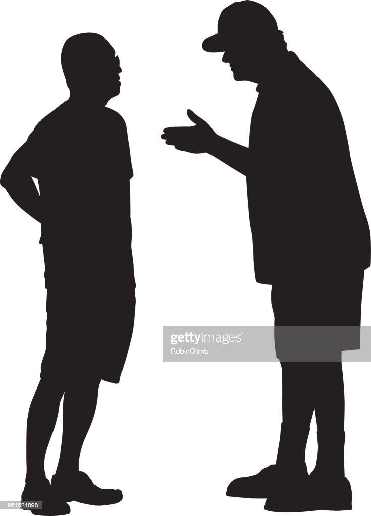 Two Men Talking Silhouette