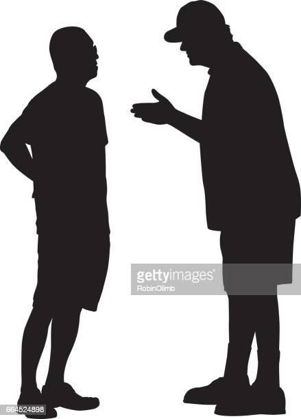 Zwei Männer reden Silhouette