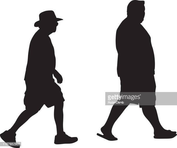 Zwei Männer walking Silhouette