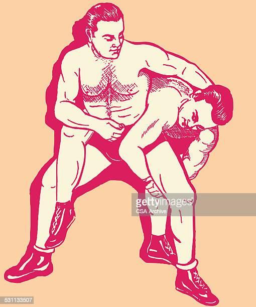 two men wrestling - wrestling stock illustrations