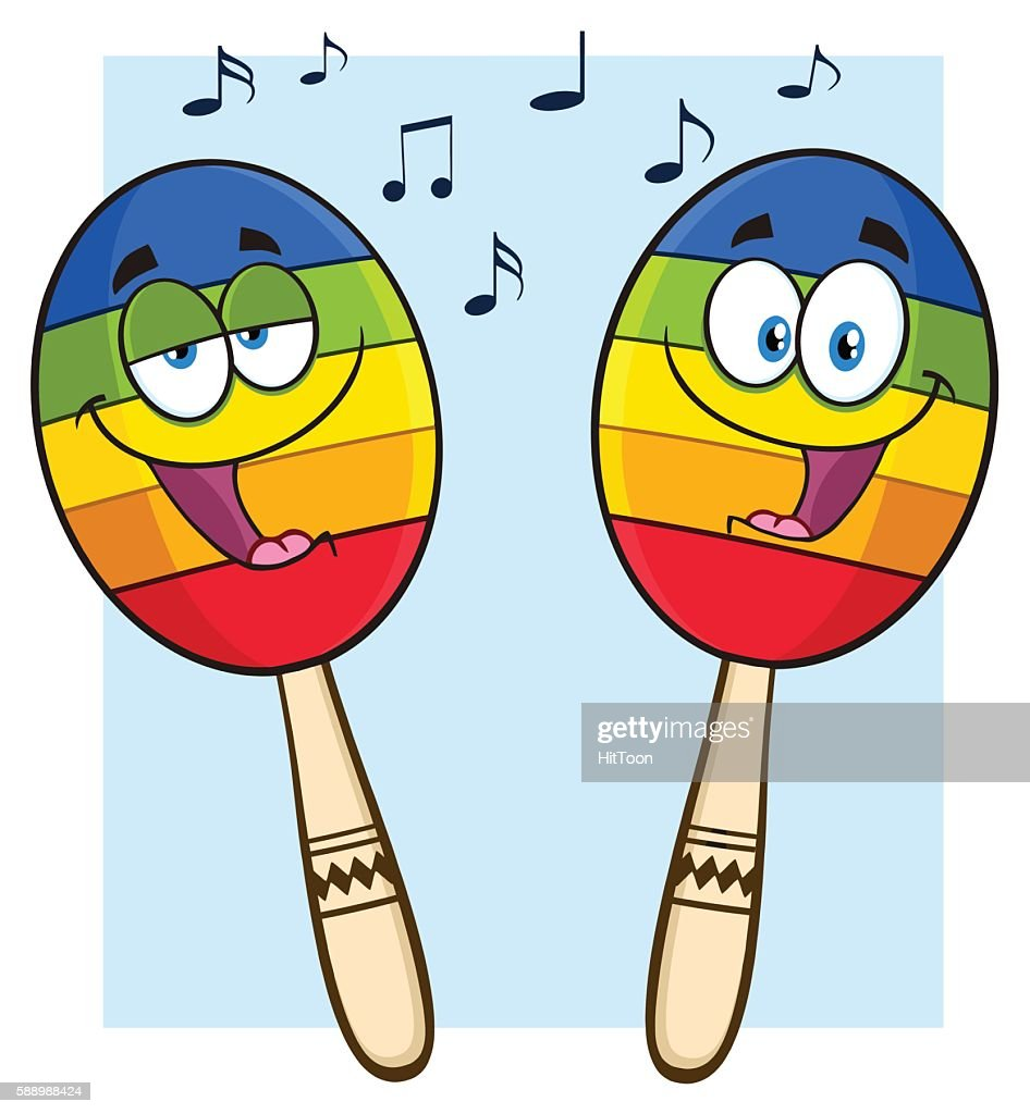 Two Mexican Maracas With Background
