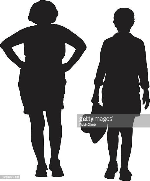 illustrations, cliparts, dessins animés et icônes de two middle aged women walking - femme grosse