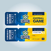 two modern professional design of football tickets in blue and yellow theme.
