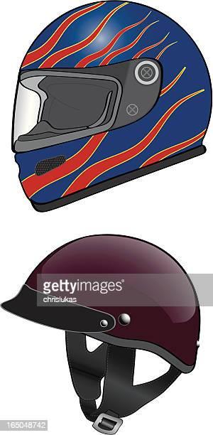 two motorcycle helmets - helmet visor stock illustrations, clip art, cartoons, & icons