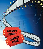 Two movie tickets on a film reel background