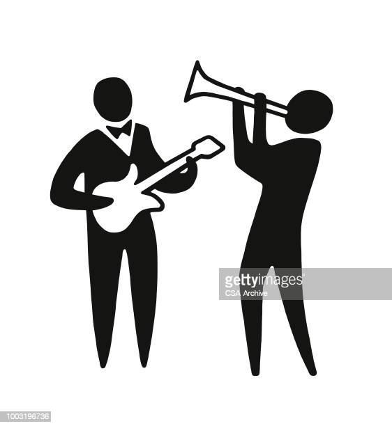 two musicians - nightlife stock illustrations