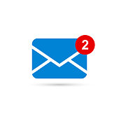 Two new messages icon with notification. Envelope with incoming message. Vector.