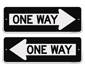 Two one way signs pointing in opposite directions