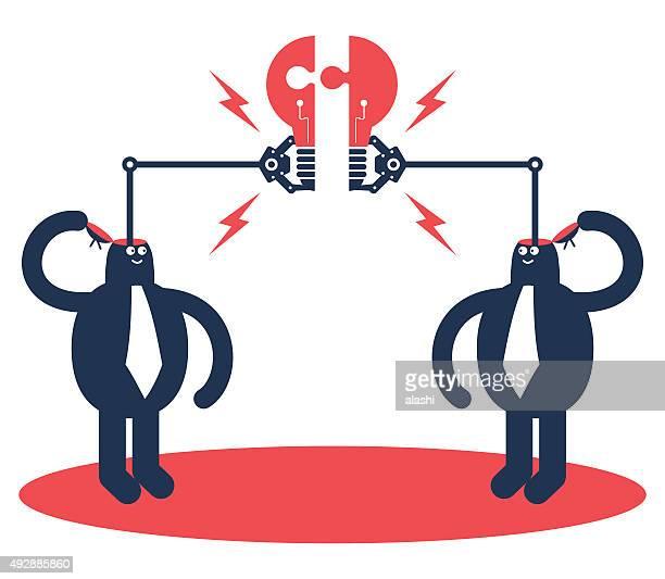 ilustraciones, imágenes clip art, dibujos animados e iconos de stock de dos hombres de negocios abierto de montar piezas de bombilla idea de calar - 2015