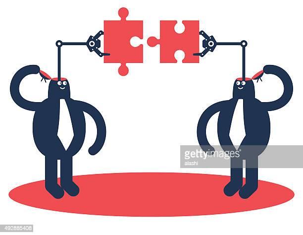 ilustraciones, imágenes clip art, dibujos animados e iconos de stock de dos hombres de negocios abierto de montar piezas del rompecabezas - 2015