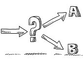 Two Options Uncertainty Question Mark Drawing