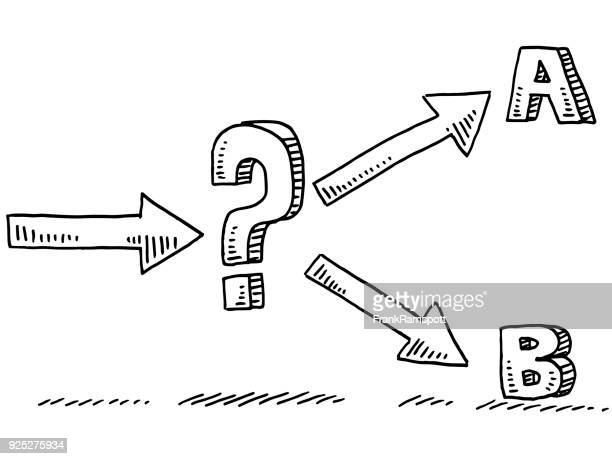 two options uncertainty question mark drawing - letter b stock illustrations