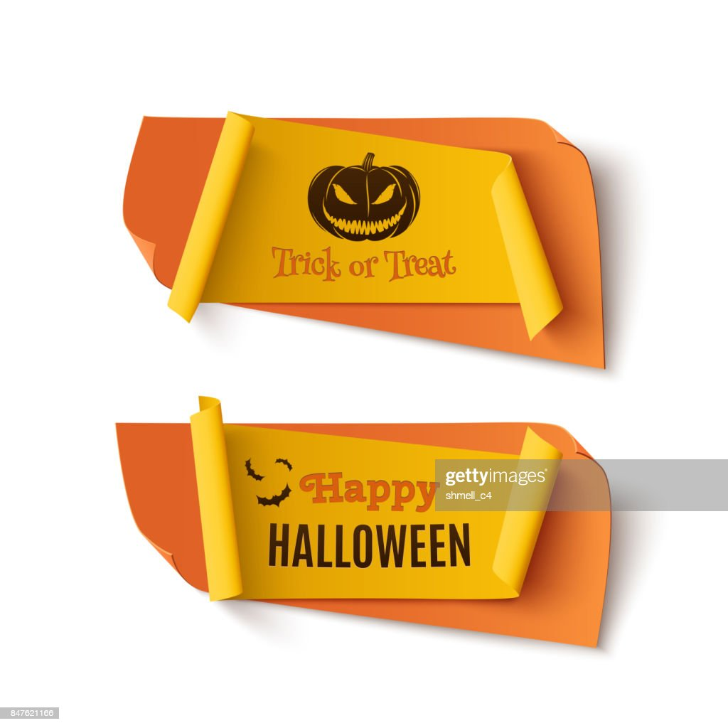 Two orange and yellow, Halloween, treat or trick banners.