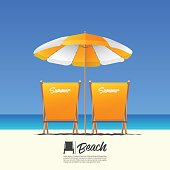 Two orange summer beach chair in back view and orange beach umbrella. Blue gradient sky background.