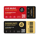 Two, pair vector ticket isolated isolated on white background. Cinema, theater, concert, play, party, event, festival ticket realistic template set. Ticket icon for website.