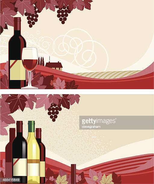 two panels showing drawn bottles of wine with vineyards - red wine stock illustrations, clip art, cartoons, & icons