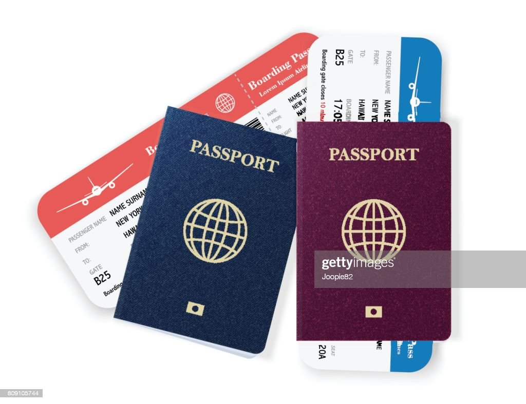 Two passports with boarding passes. Realistic vector illustration isolated on white background.