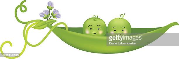Two Peas In A Pod Vector Illustration