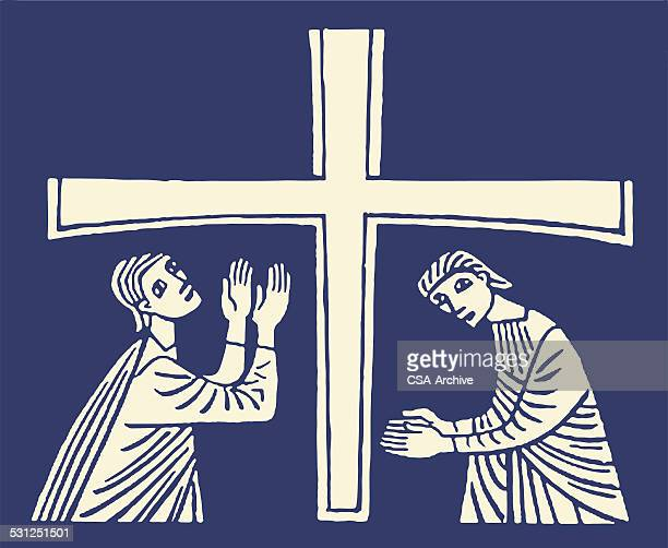 two people and cross - easter sunday stock illustrations