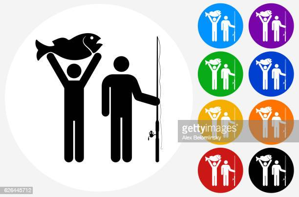 Two People and Fish Icon on Flat Color Circle Buttons
