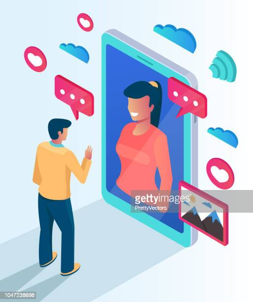 Two people character communicate talking by website smartphone. Online computer phone pc networking date meeting call concept. Vector flat cartoon isolated illustration