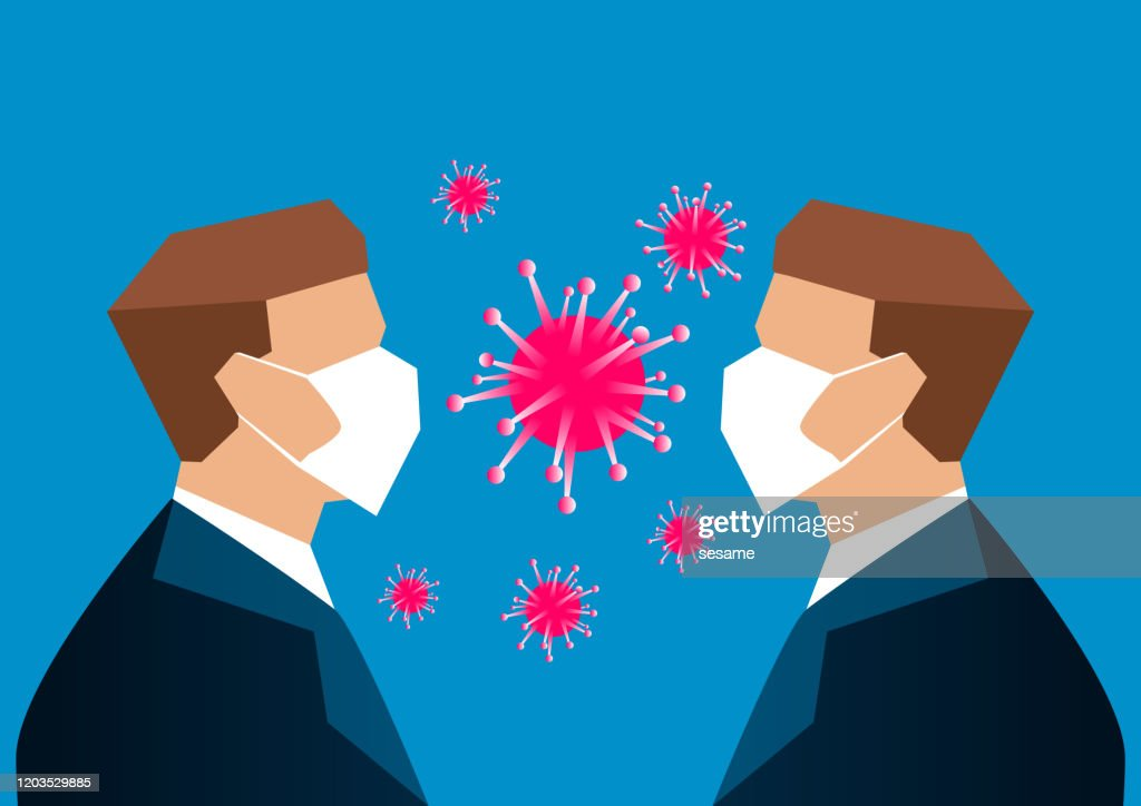 Two people face to face wearing masks, 2019-nCoV virus : stock illustration