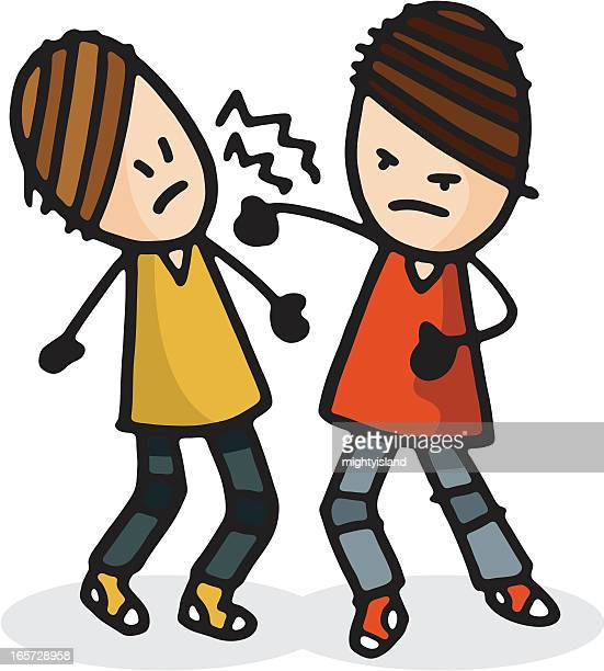 two people fighting - slapping stock illustrations, clip art, cartoons, & icons