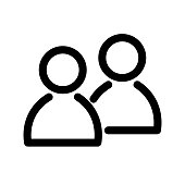 Two people icon. Symbol of group or pair of persons, friends, contacts, users. Outline modern design element. Simple black flat vector sign with rounded corners