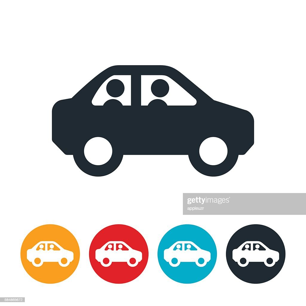 Two People In Car Icon