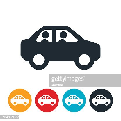 Two People In Car Icon Vector Art
