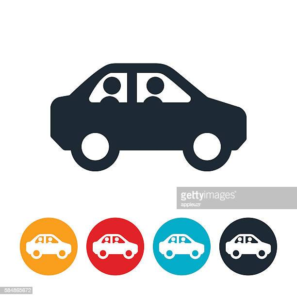 two people in car icon - commuter stock illustrations, clip art, cartoons, & icons