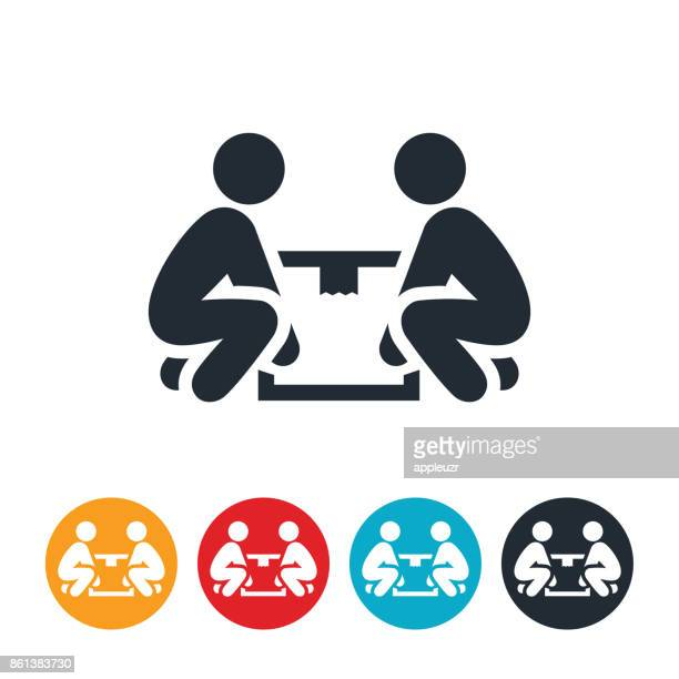 two people lifting box icon - picking up stock illustrations