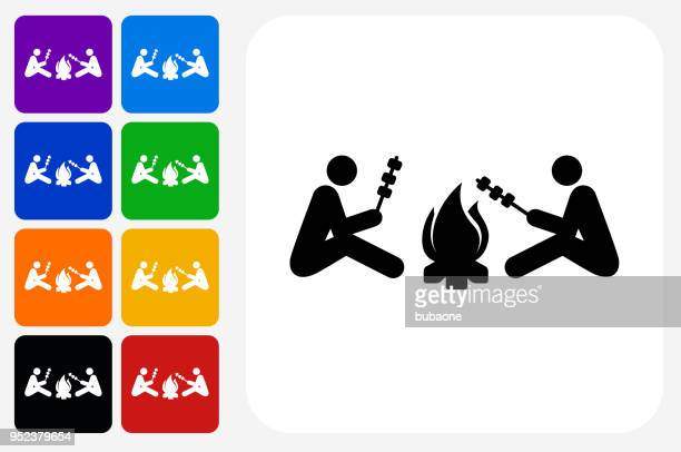 two people next to campfire icon square button set - next stock illustrations