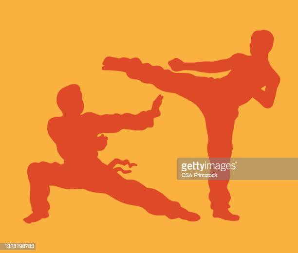 two people practicing karate - judo stock illustrations