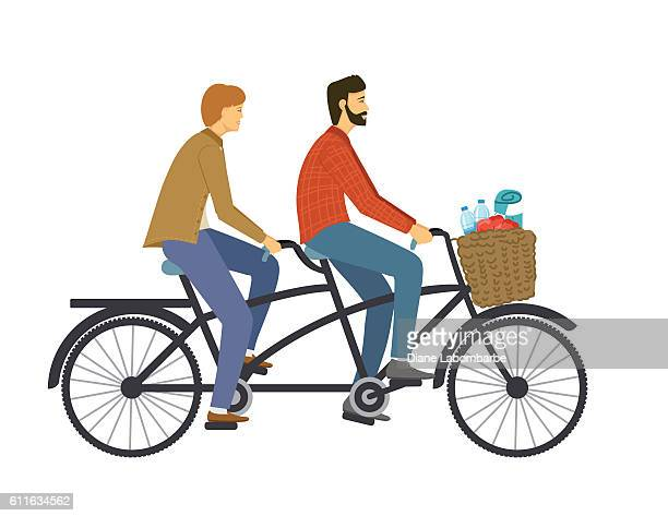 two people riding a tandem bike - picnic blanket stock illustrations, clip art, cartoons, & icons